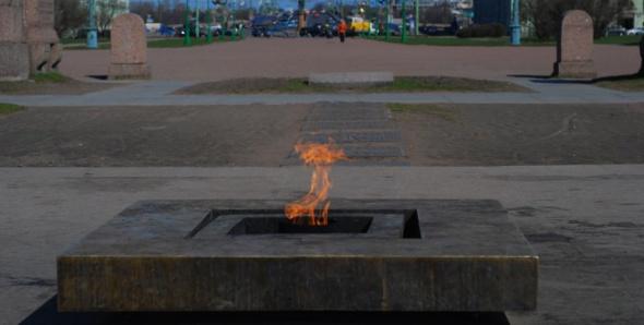 В Петербурге хулиганы забросали снегом Вечный огонь на Марсовом поле